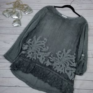 New Belle France Embroidered Silk Top Blouse S